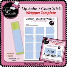 Lip Balm - Chap Stick Wrapper Printable TEMPLATE
