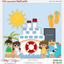 Vacation Caribbean Cruise Layered Element Templates