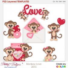 Monkey Love 2 Layered Element Templates