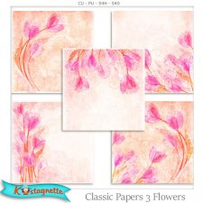 Classic Papers 3 Flowers by Kastagnette