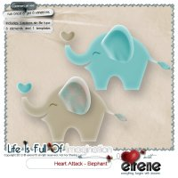 Heart Attack - Elephant Combo: Actions,Templates&Embellishment
