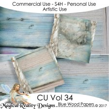 Blue Wood Papers - CU Vol 34 by MagicalReality Designs