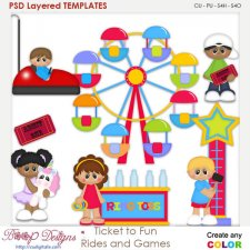 Ticket to Fun Rides and Games Layered Element Templates