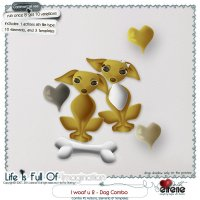 I Woof U 2-Dog Combo: Actions, Templates & Embellishments