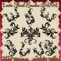 WTD Exotic Floral Brushes PS/PSE and PNG Files cu