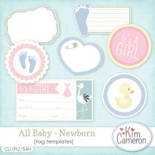 Newborn Baby Tags by Kim Cameron