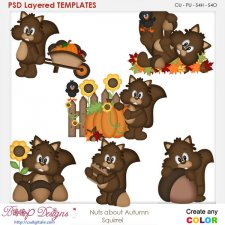 Nuts About Autumn Squirrel Element Templates