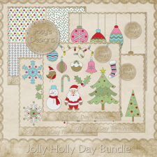 Jolly Holly Day Layered Templates Bundle by Josy