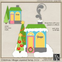 Christmas Village Layered Template 3 CU