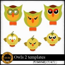 Owls 2 templates CU4CU by Happy Scrap Art