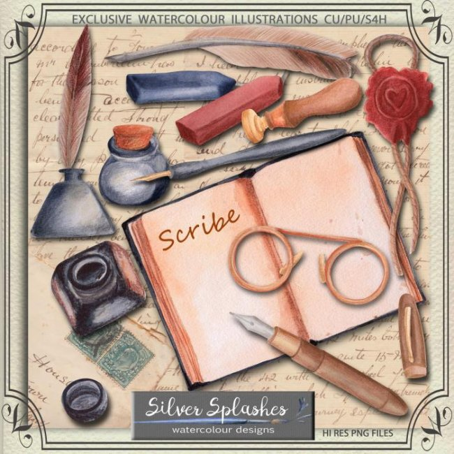 EXCLUSIVE Scribe Watercolour by Silver Splashes