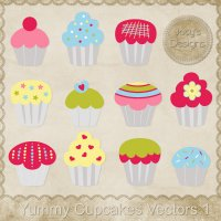 JC Yummy Cupcakes Vectors