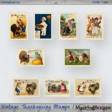 Vintage Thanksgiving Stamps 1 by Mandog Scraps