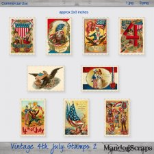 Vintage 4th July Stamps 2 by Mandog Scraps