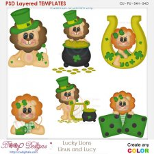 Lucky Irish Lions - Linus & Lucy Layered Element Templates