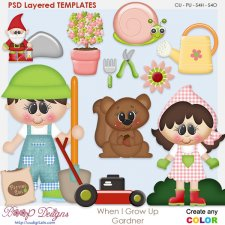 When I Grow Up Gardener Layered Element Templates