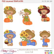 Marshmallow Bear & Honey Love Fall Element Templates