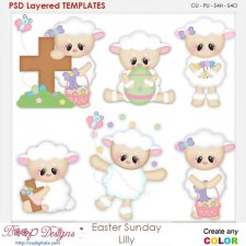 Easter Sunday Lilly Lamb Layered Element Templates