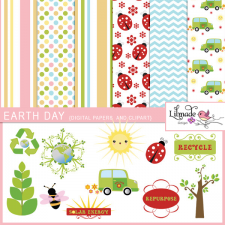 Earth Day clipart and digital paper bundle