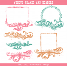 Junque frames and headers Photoshop brushes Lilmade Designs