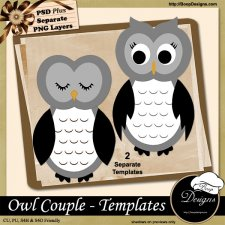 Owl Couple TEMPLATES by Boop Designs