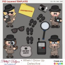 When I Grow Up Detective Layered Element Templates