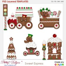 Sweet Gingerbread Train Express Layered Element Templates