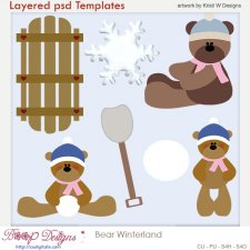 Bear Winter Wonderland Layered Template COMBO Set