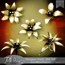 Designer Stash Vol 160 - Gold Metal Flowers by Feli Designs
