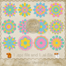 Flower Layered Vector Templates 3 by Josy