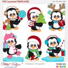 Holiday Penguins Layered Element Templates