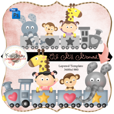 All Aboard Train Layered Template by Peek a Boo Designs