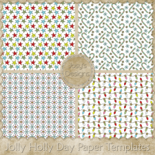 Jolly Holly Day Paper Layered Templates by Josy