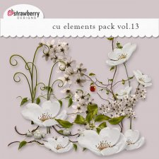 White Elegant Floral Element Mix Vol 13 by Strawberry Designs