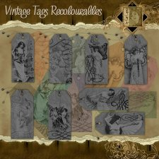 Vintage Tags recolourables by Cari Lopez