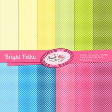 Bright Polkas Digital Papers Lilmade Designs