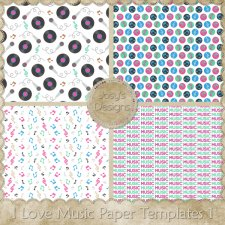 I Love Music Paper Layered Templates 1 by Josy