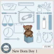 New Born Boy 1 elements by Happy Scrap Arts