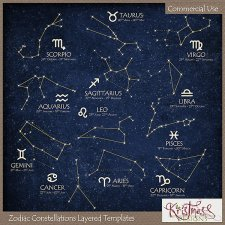 Zodiac Constellations Layered Templates EXCLUSIVE by Kristmess