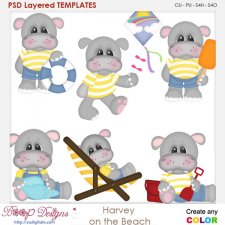 Harvey Hippo On The Beach Layered Element Templates