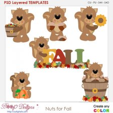 Nuts For Fall Squirrels Layered Element Templates