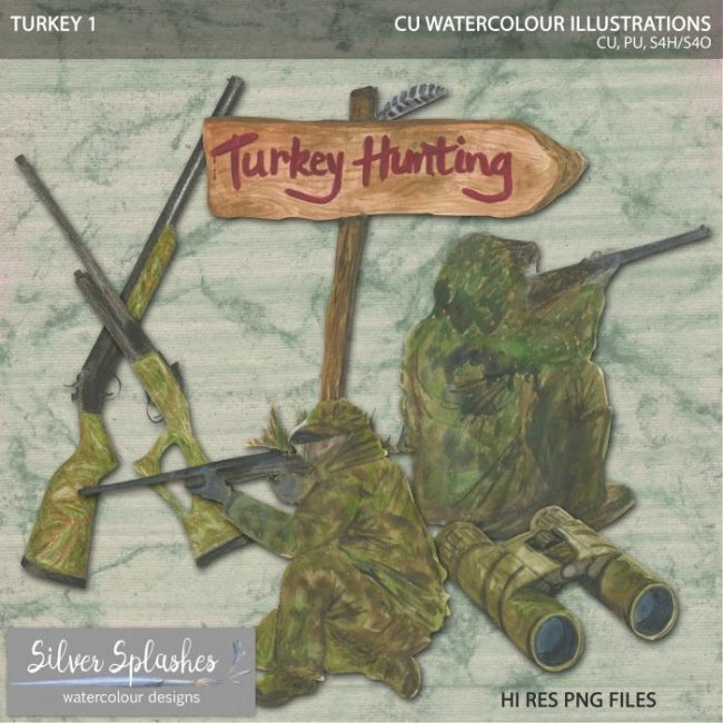 EXCLUSIVE Turkey Hunting 1 Watercolour by Silver Splashes
