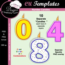 Birthday Numb Candles - CU TEMPLATE by Boop Designs