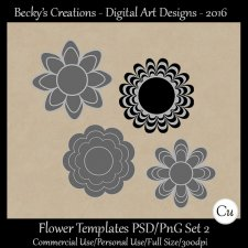 Flower Templates Set 2 PSD-PNG-Becky's Creations