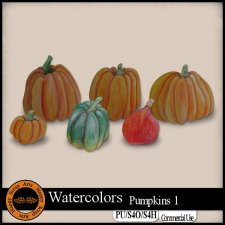 EXCLUSIVE Watercolors Pumkins 1 Elements by Happy Scrap Arts