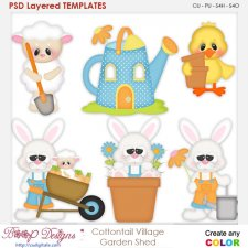 Cottontail Village-Garden Shed Layered Element Templates