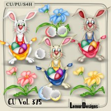 CU Vol 375 Easter Rabbit Bunny Flowers by Lemur Designs