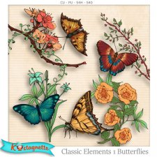 Classic Elements 1 Butterflies by Kastagnette