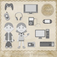 Techno Kids Layered Templates by Josy