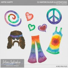 EXCLUSIVE Hippie Happy Watercolour by Silver Splashes